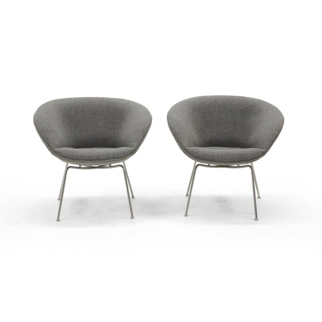 Pair of Arne Jacobsen Pot Chairs manufactured by Fritz Hansen, Denmark. The original chairs have been expertly restored...