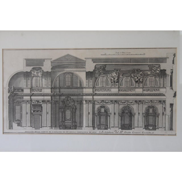 This is a beautiful architectural platinum engraving of the Spaccato De La Chiesa that is elegantly framed and matted...