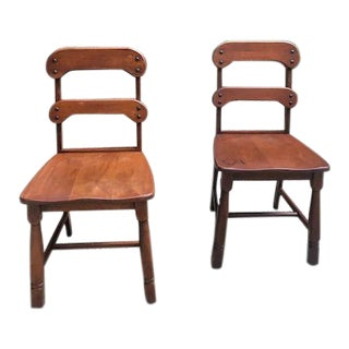 1940s Vintage Wooden Side Chairs- A Pair For Sale