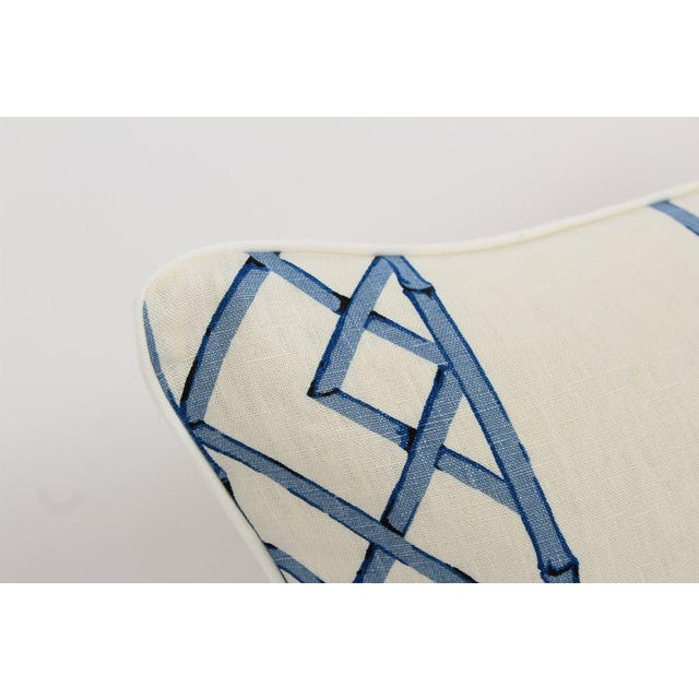 Blue & Ivory Palm Beach Linen Trellis Pillows, a Pair For Sale - Image 4 of 9