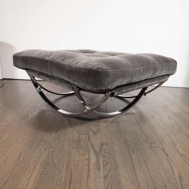 Stendig Midcentury Button Tufted Chair & Ottoman in Chrome & Graphite Mohair by Stendig - a Pair For Sale - Image 4 of 13