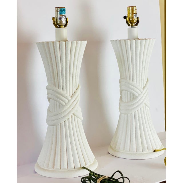 1970s 1970s Sculptural Plaster White Table Lamps - a Pair For Sale - Image 5 of 8