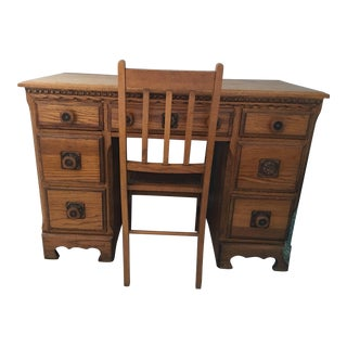 Antique Wood Desk and Chair Set