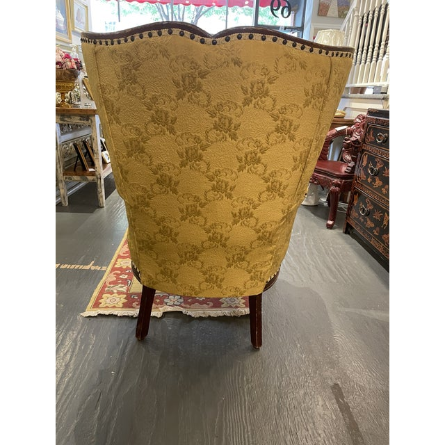 1950s 1950s Vintage French Wingback Mahogany Chair For Sale - Image 5 of 7