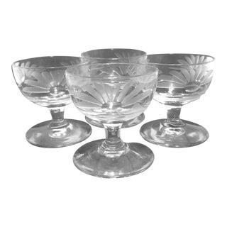 Vintage Etched Crystal Footed Pedestal Salt Cellars/Open Salts - Set of 4 For Sale