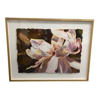 "Linda Erfle Custom Framed Original Watercolor ""Magnolia"" For Sale"