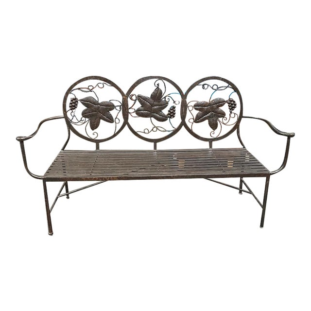 Late 20th Century Heavy Iron Bench by Maitland Smith For Sale