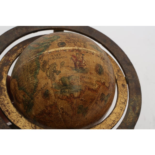 Italian Mini Old World Globe with Brass stand For Sale - Image 4 of 10