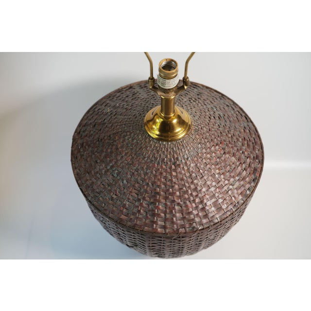 Maitland - Smith Maitland-Smith Woven Copper Basket Form Table Lamp For Sale - Image 4 of 6