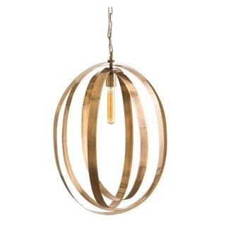 Vintage Brass Band Pendant Light For Sale