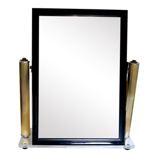 Vanity Lucite Acrylic and Brass Column Table Mirror For Sale