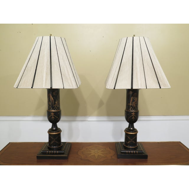Chinoiserie Decorated Table Lamps with Shades - a Pair For Sale - Image 10 of 10