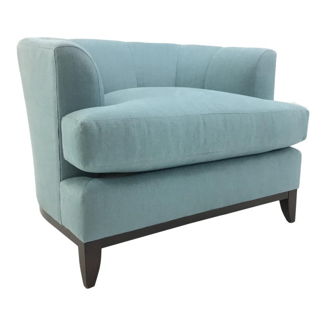Barbara Barry for Henredon Robins Egg Blue Channel Back Tub Club Chair For Sale