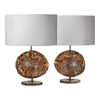 Pair of Agate Lamps For Sale