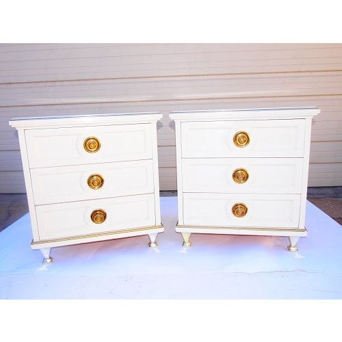 Cream 3 Drawer Night Stands - Image 2 of 7