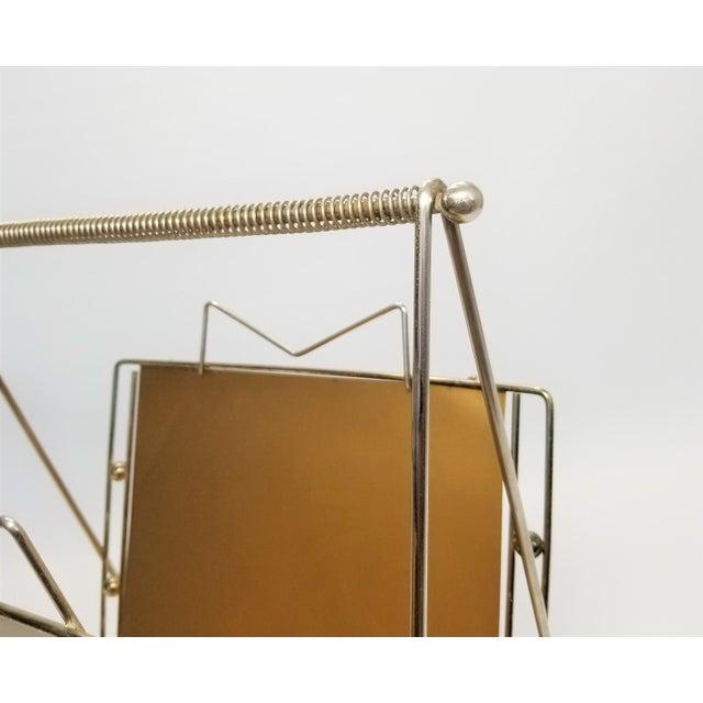Metal Rare Atomic Mid Century Modern Magazine Holder Rack - Sputnik Era 1950s Abstract Minimalist Art Deco For Sale - Image 7 of 13