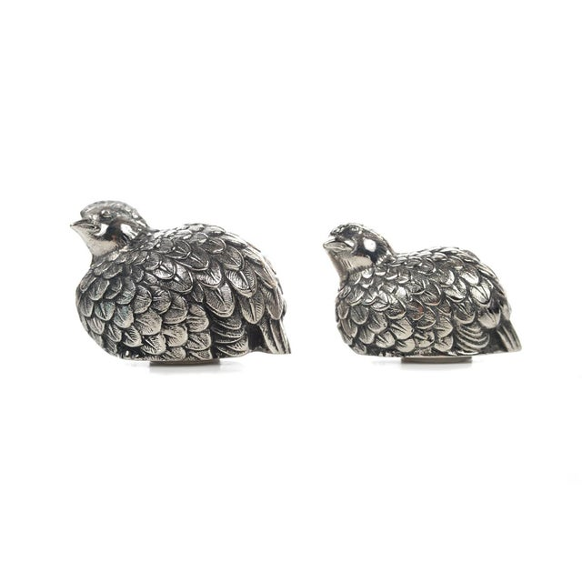 Hollywood Regency Gucci Pewter Quail Salt & Pepper Shakers For Sale - Image 3 of 9