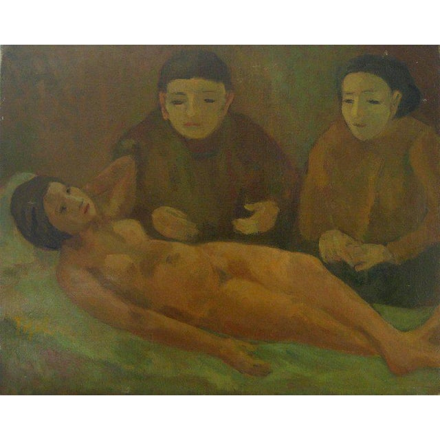 """This 1929 oil on canvas painting in green tones entitled """"Women with Nude"""" is by Polish-born New York Expressionist..."""