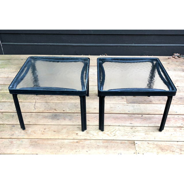 Mid-Century Modern 1960s Mid-Century Modern Brown Jordan Tamiami Kantan Black Metal Side Tables - a Pair For Sale - Image 3 of 5