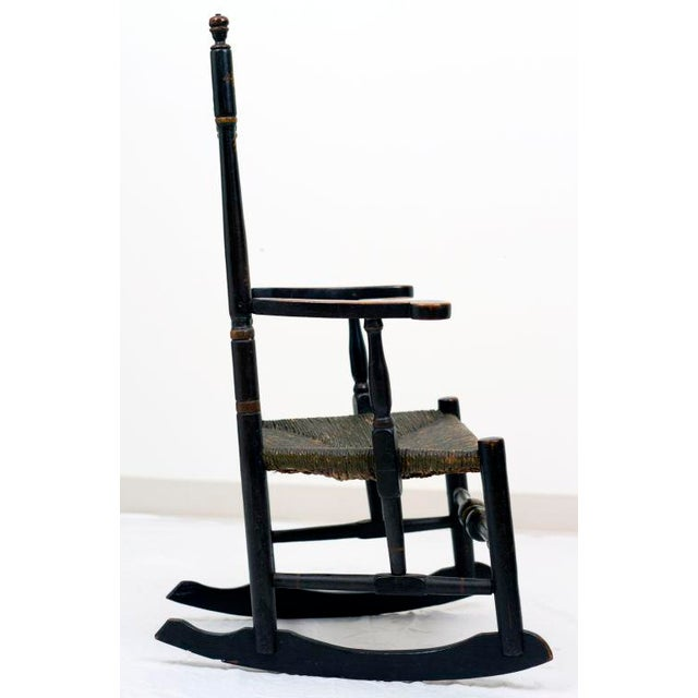 Paint Early 18th Century Black Painted Banister Back Rocking Chair For Sale - Image 7 of 7