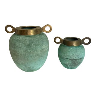 Vintage Patinated Brass Decorative Urns- A Pair For Sale