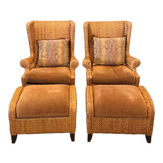 Palecek Sweater Woven Wing Chairs and Ottomans - Set of 4 For Sale