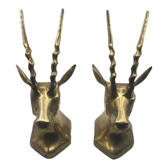 Brass Antelope Bookends - a Pair For Sale
