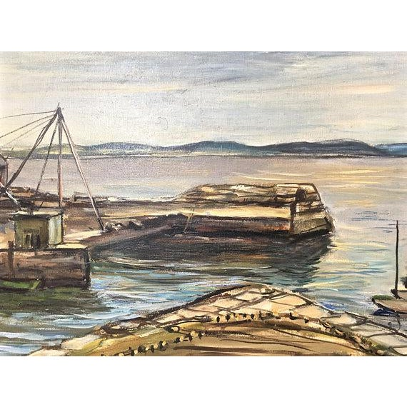 "1940s Original ""New England Wharf Harbor"" Signed Oil Painting by Vetold Pasternacki For Sale In Chicago - Image 6 of 11"