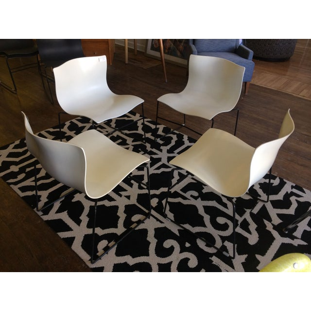 Knoll Vignelli Handkerchief White Chairs- Set of 4 - Image 3 of 6