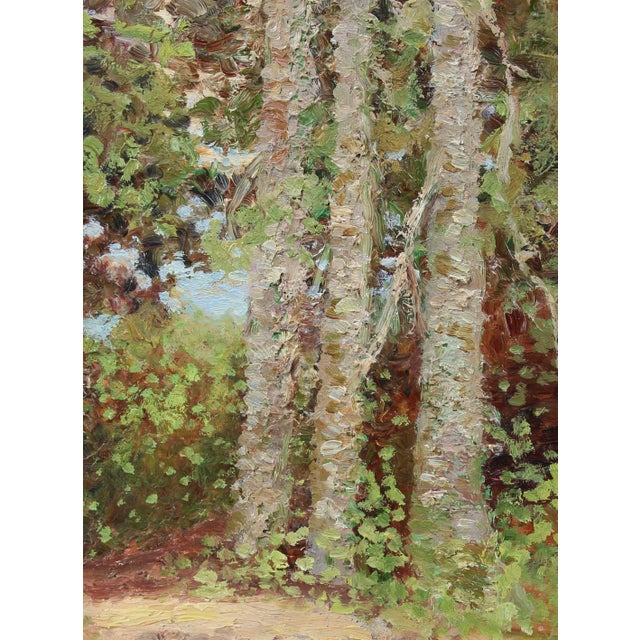 This circa 1900-1930s oil on wood panel landscape with trees is by Scottish-American artist Duncan Davidson (1876-1947)....