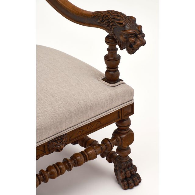 Linen Louis XIII Style French Armchairs For Sale - Image 7 of 10