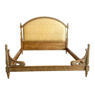 Wooden Louis XVI Style King Bed With Fortuny Fabric For Sale