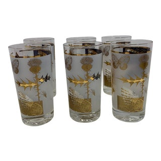 1960s Gold and Frosted Glasses - Set of 6 For Sale