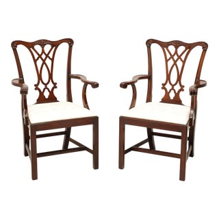 Henkel Harris 107a 29 Mahogany Chippendale Dining Armchairs - Pair For Sale