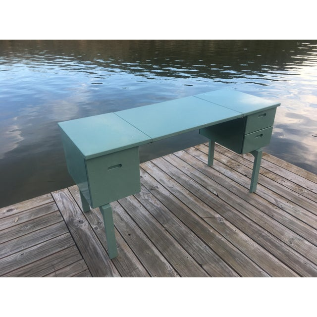 This vintage Aluminum Military campaign desk makes a great statement piece for your office. It is powdercoated in a...
