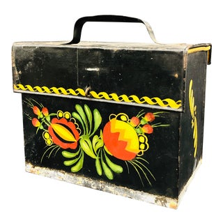 Antique Painted Tole Box For Sale