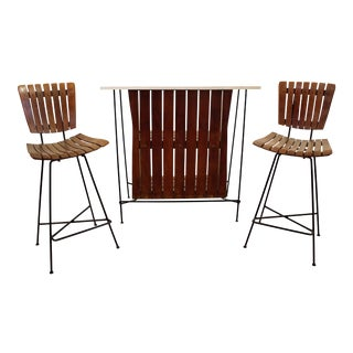 Mid-Century Danish Modern Arthur Umanoff 3-Piece Bar & Pair of Stools