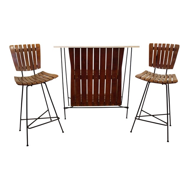 Mid-Century Danish Modern Arthur Umanoff 3-Piece Bar & Pair of Stools For Sale