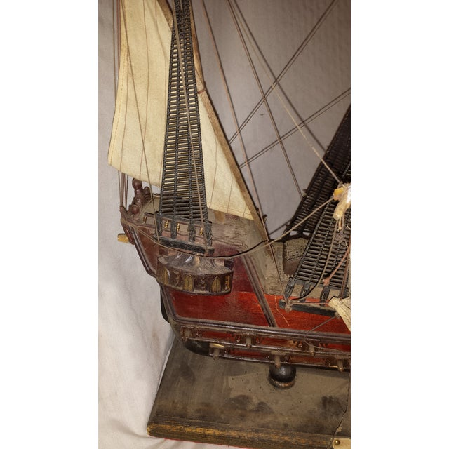 Antique Wooden European Ship Galleon For Sale - Image 10 of 11