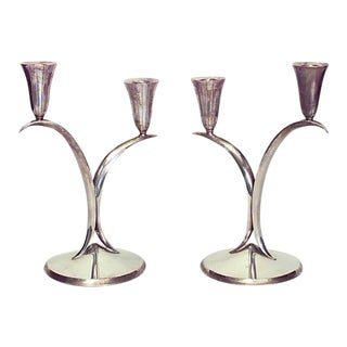 Pair of 1940s Italian Candelabrum the Style of Gio Ponti For Sale
