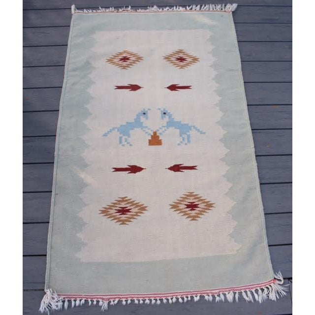 "Vintage Boho Chic Flat Weave Rug - 3'1"" x 5'4"" - Image 2 of 8"