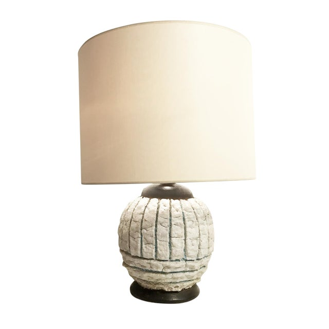 French Mid-Century Pottery Table Lamp For Sale