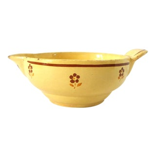 1930s Antique French Givors Yellow and Brown Faience Pottery Bowl For Sale