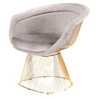 Mid-Century Modern Gold & Gray Velvet Lounger For Sale