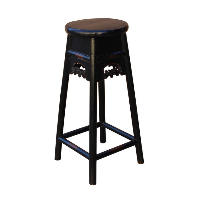 Asian Quality Handmade Chinese Black Color Solid Elm Wood Bar Stool For Sale - Image 3 of 5