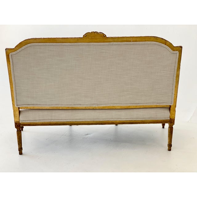 French 19th Century Gilt Wood Settee For Sale - Image 3 of 10