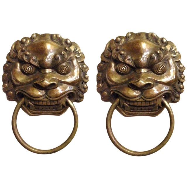 Late 20th Century Vintage Large Lion Mastiff Brass Knockers- a Pair For Sale