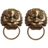 Image of Pair Vintage Large Lion Brass Knockers Large For Sale