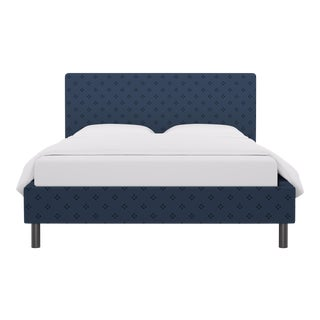 Queen Tailored Platform Bed in Azul Faro For Sale