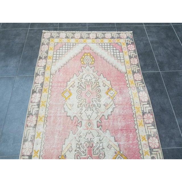 Vintage Faded Oushak Floral Handmade Rug- 2′11″ × 9′1″ For Sale - Image 6 of 11